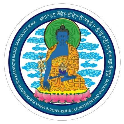 Abtibild cu Buddha medicinei albastra cu floare de lotus