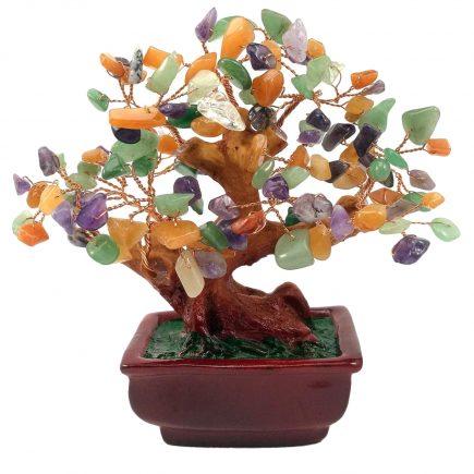 remedii feng shui Copac cu pietre semipretioase mixt pe suport ceramic – mare