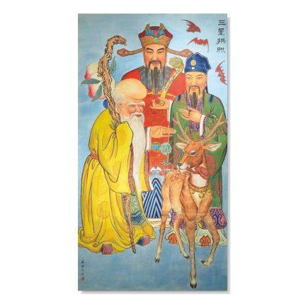 remedii feng shui Tablou Feng Shui cu cei trei intelepti, nemuritori Fuk Luk Sau