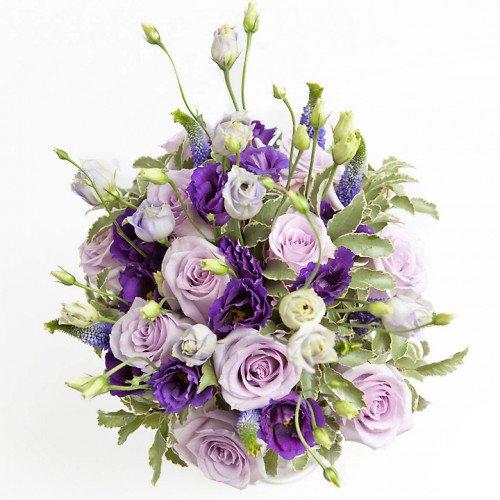 Buchet de mireasa cu trandafiri si lisianthus