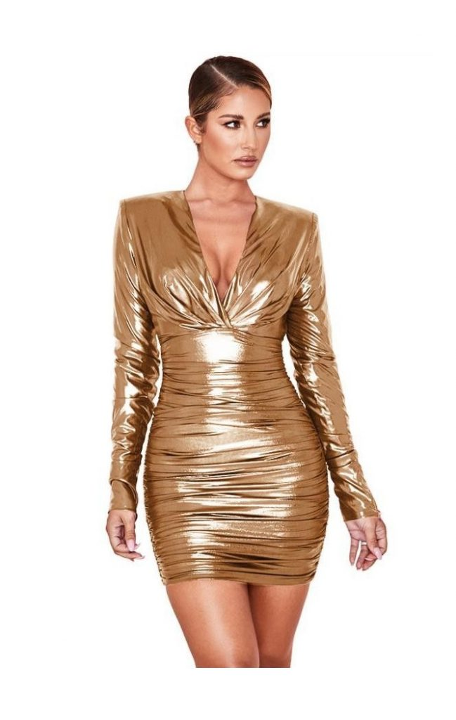 rochie metalica eleganta